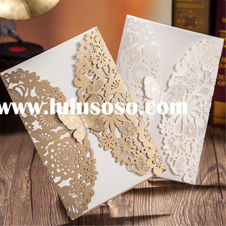 high-end with good price elegance butterfly wedding invitation cards