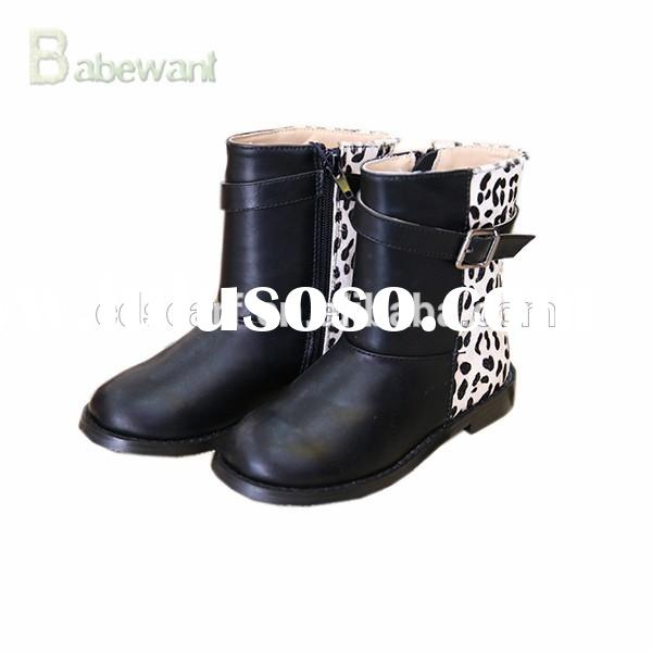 newest fashion girls leather boots, kids winter black leather boots, high heel leather boots branded