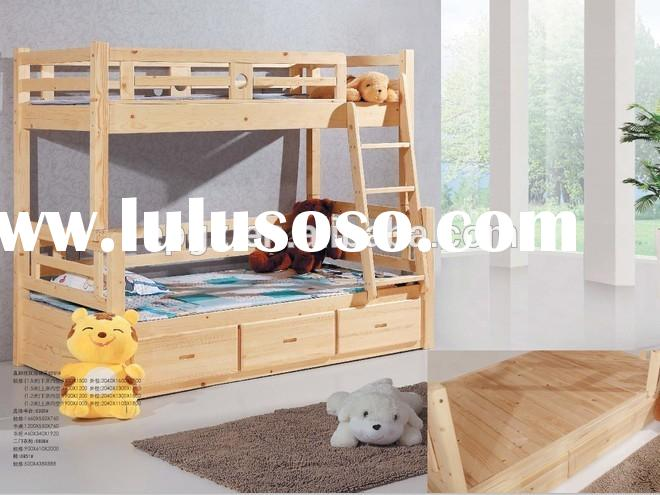 Cheap Children wood bunk bed for kids acacia wood loft bed with stairs DG-S22