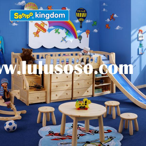 Children Spruce Loft Bed with Stairs and Slide