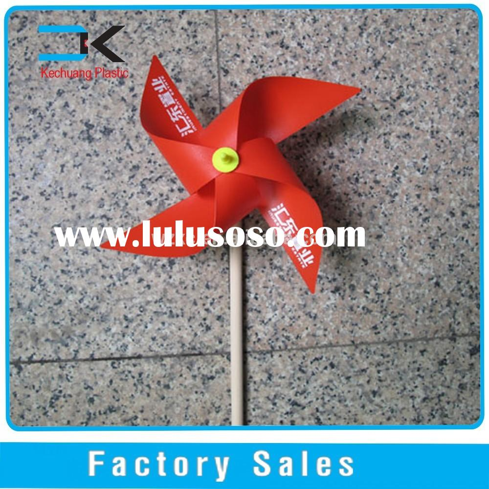 DIY!! Four-blade Red Color Promotion Windmill with wooden stick