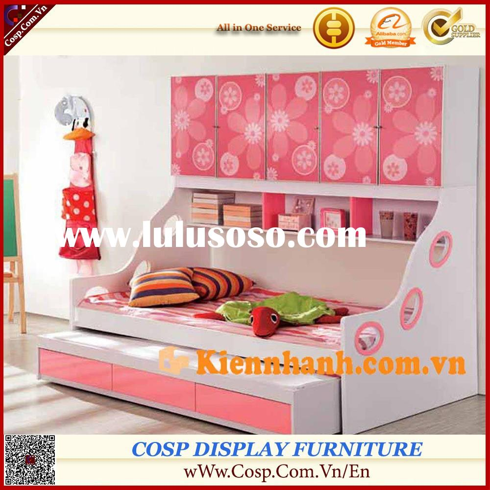 Eye-catching bunk bed/loft bed with display shelf, storage set for children