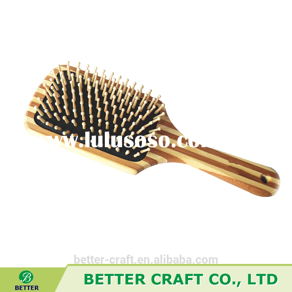High Quality Paddle Salon Hair Brush With Cushion & Wooden Handle