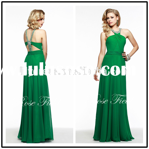 New Arrival Green Chiffon Custom Made Floor Length Long Formal Prom Evening Dresses Designs CP110 ad