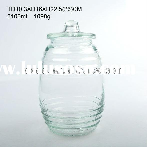 Transparent Round Glass Storage Jar with Glass Lid and rubber ring Large Volume Glass Container