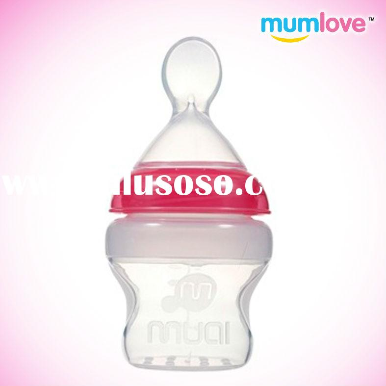 Wide neck Silicone Bottles with Spoon Cereal baby Feeding Bottle lovely baby products