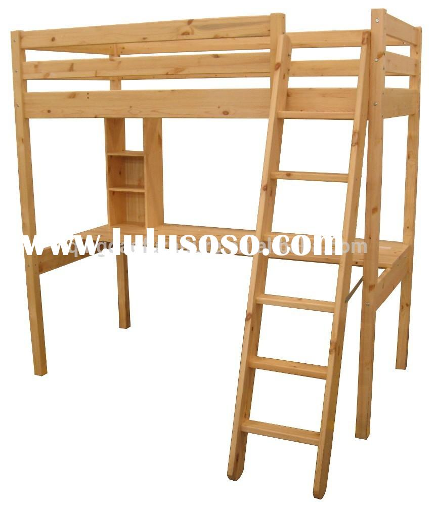 box bed loft bed with study table pine solid wood bedroom furniture set HJB-1237