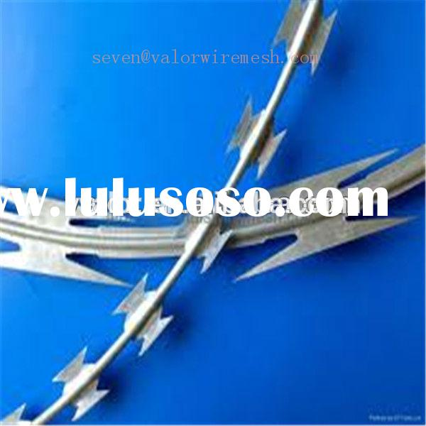 high tensile galvanized sharp razor barbed wire/concertina razor barbed wire for fence(low price)