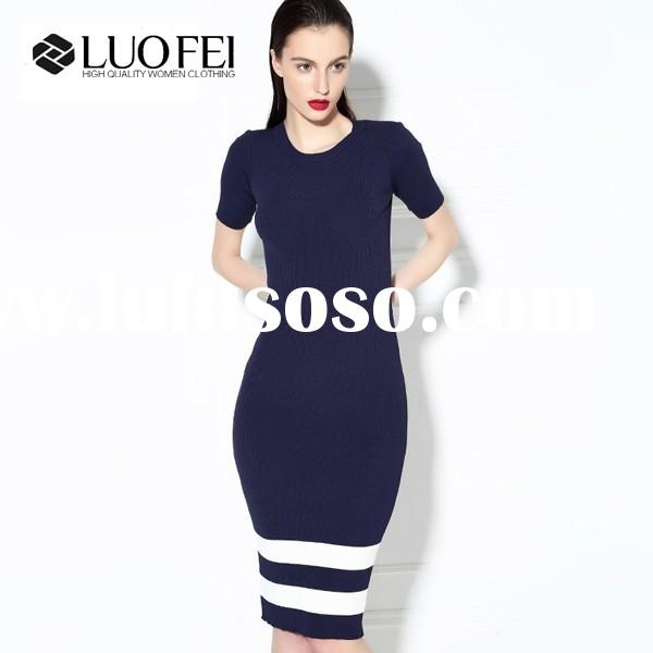 2015 Hot design women elegant bodycon patchwork knitted pencil dresses with short sleeved
