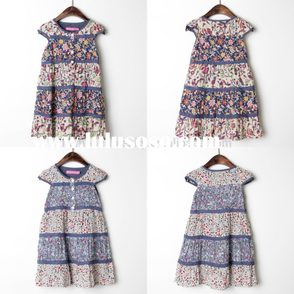 2015 new design back to school beautiful cotton sunny print flower big girl dress children clothing
