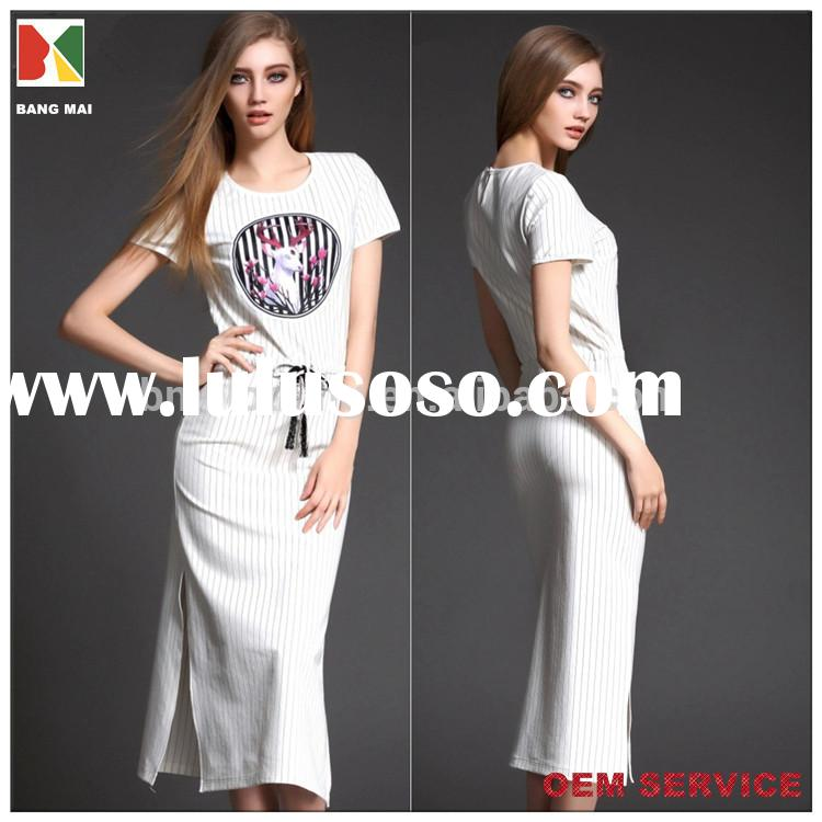 2015 new fashion women's short sleeve printed maxi dress with sash on waist and side slit on