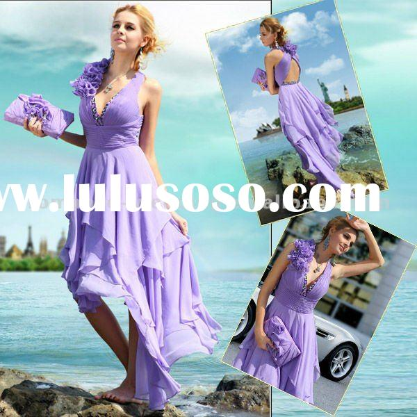 Beb0076 Light Purple V-neck Handmade Flower Short Front Long Back Evening Dress