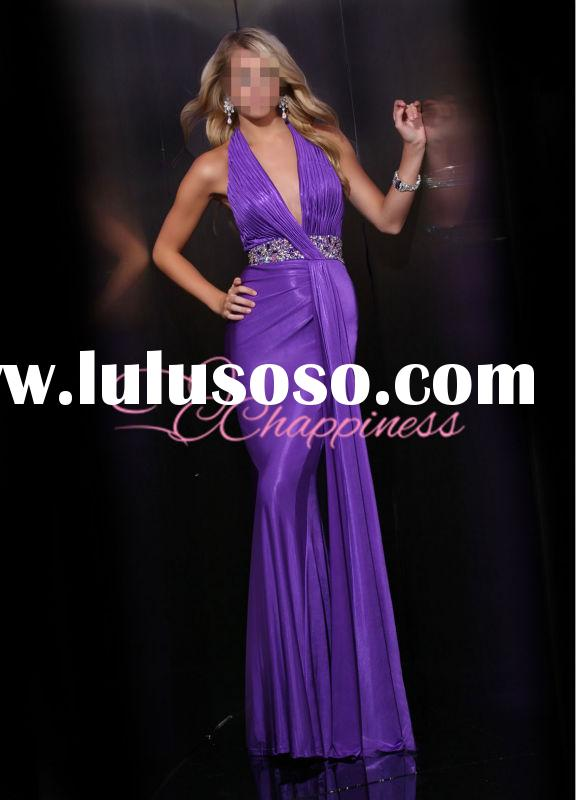 Charming Women Purple Long Evening Dresses Halter Maxi Plus Size A line Celebrity Prom Dresses 2015