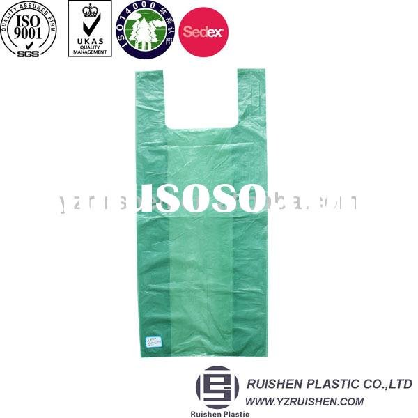 Cheap hdpe t-shirt plastic bags with vest handle for packing garbage