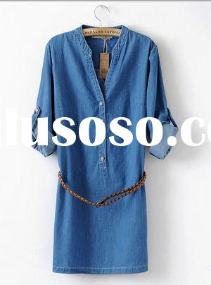 LATEST SUMMER TEMPERAMENT GIRLS SHORT DENIM DRESS WITH ROLLED SLEEVES AND BELT
