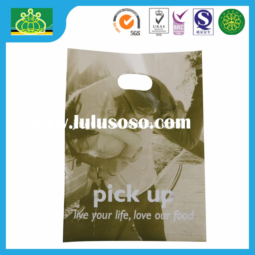 LDPE/HDPE/PP/CPP CHEAP CUSTOM PRINTING SQUARE BOTTOM DIE CUT HANDLE PLASTIC SHOPPING BAG WITH HIGH Q