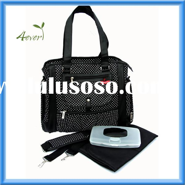 Large Stylish Fashion Carry Diaper Nappy Bag (black with pollkadots) NEW