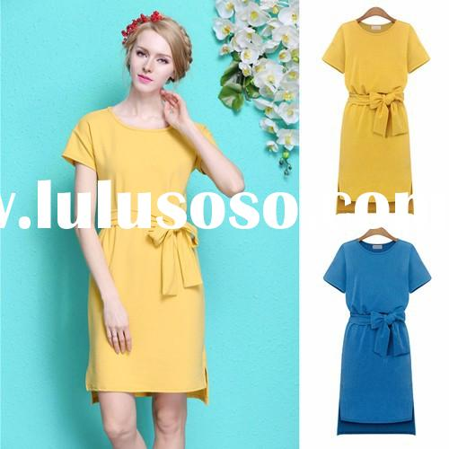 Latest Lady Women Short Sleeve Asymmetric Hem Pure Color Casual Office Dress with Belt SV023987