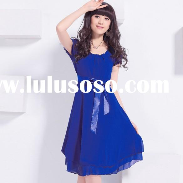 New Fashion Women's Girl Short Sleeve Dress Chiffon Knee Length Dress With Sleeves 13181