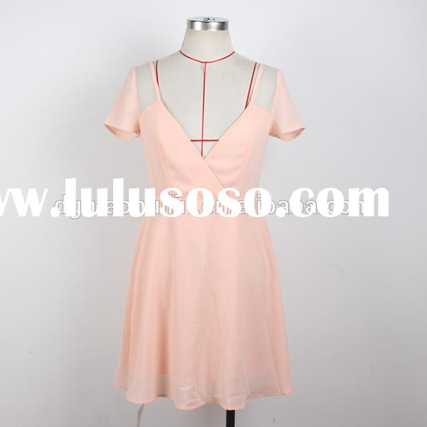 OEM new design short sleeve pink dress with mesh panel made in China