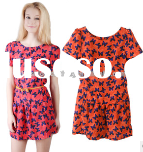 Sweet princess round collar butterfly print dress with short sleeves elegant dress