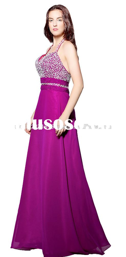 TL8 PURPLE colours evening full length dress ,beading halter neck ball gown long dress