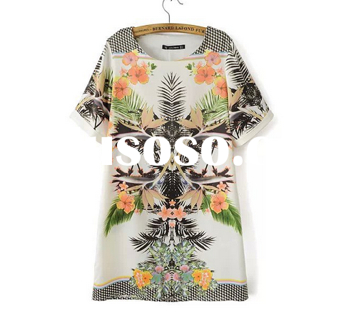 W50011Q 2015 New spring and summer European women's clothing digital printed satin leaf prin