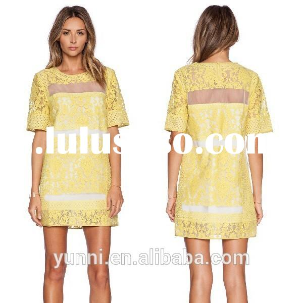 Yellow Casual shift lace ladies summer shirt dresses with short sleeve
