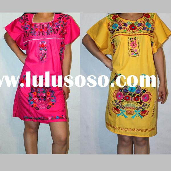 assorted mini peasant embroided mexican dresses with short sleeve cotton blends regular sundress