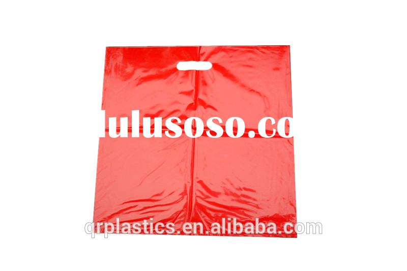 cheap plastic biodegradable handle bag with glossy printing in red