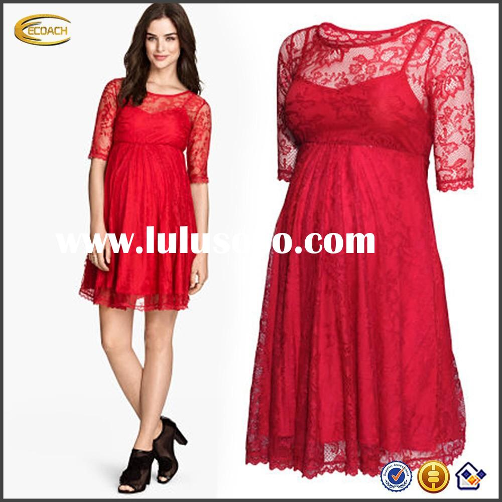 designer short red lace women maternity dress with short sleeve