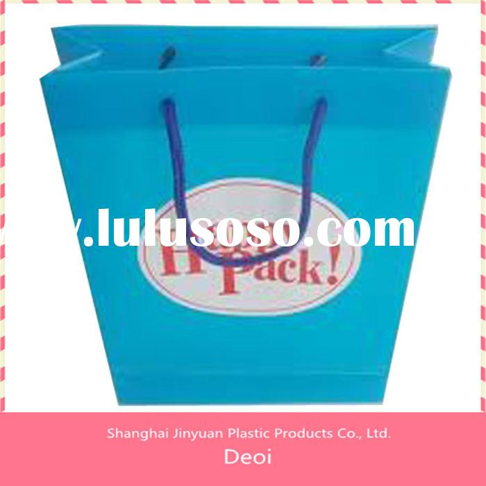fashion pp plastic shopping bag waterproof blue cheap customized shopping bag with handle