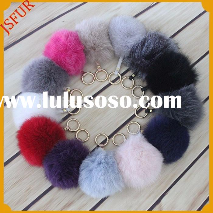 2015 Brands women fox fur ball key ring metal accessories for handbags keychain