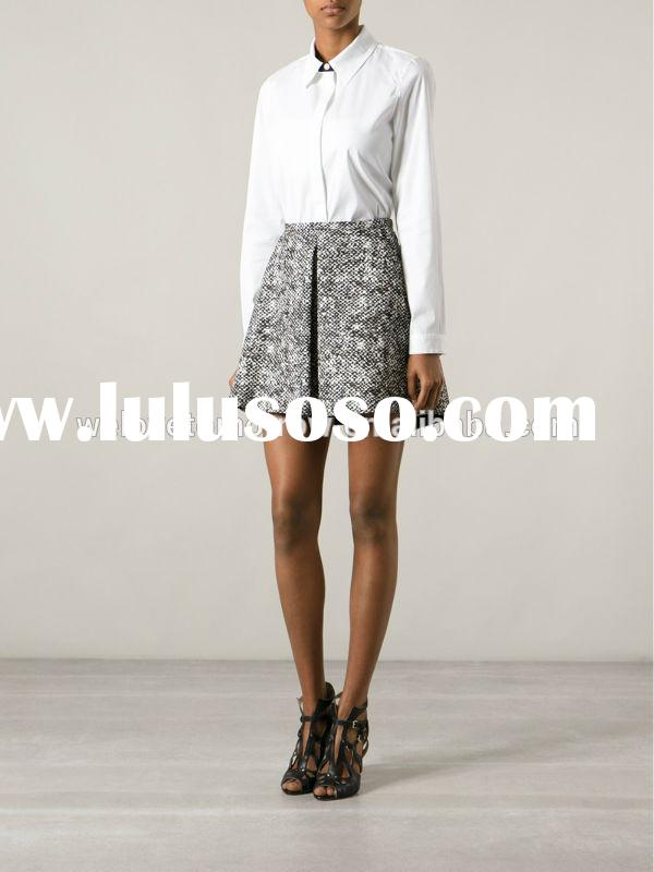 Black and white cotton blend cotton tweed skirt, sample office uniform designs, flared skirt short s