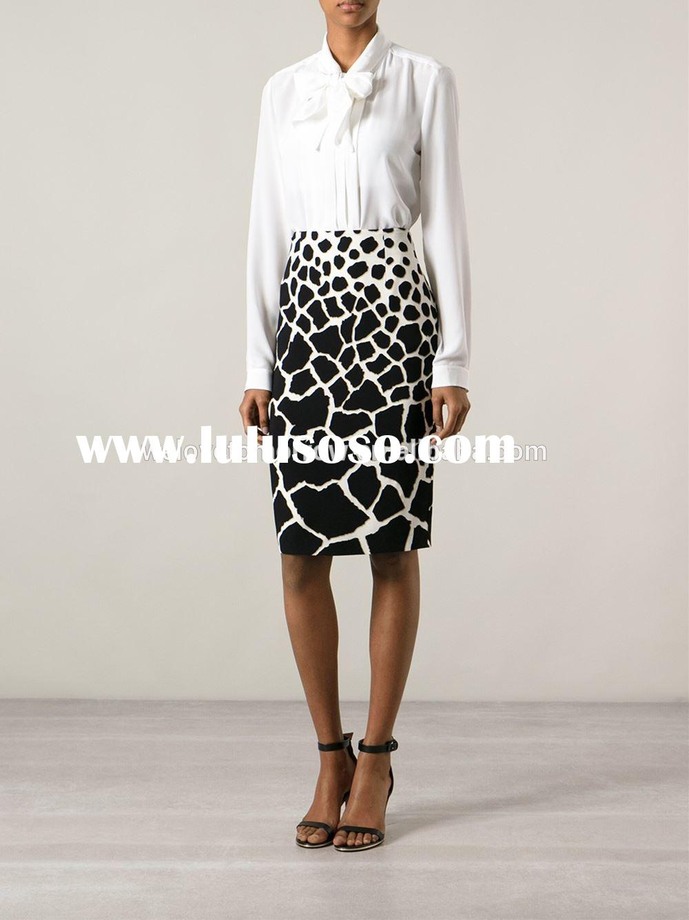 Black and white print pencil leopard skirt,models straight skirt, sample office uniform designs (TW0