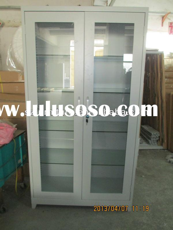 Double swing glass doors metal medicine cabinet with glass shelves,full-welding storage cabinet.