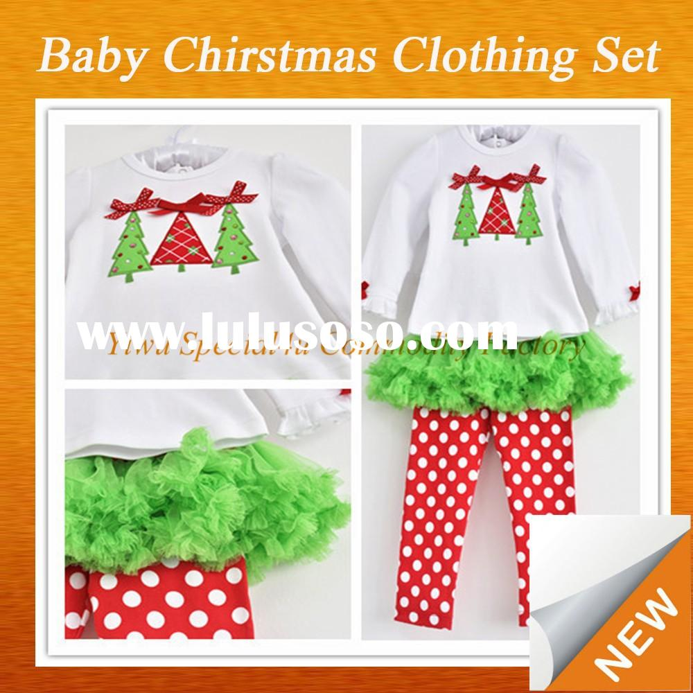 Fall Outfits for Girls Christmas Tree Outfits Dress Set Cotton Wholesale Baby Clothes western girls