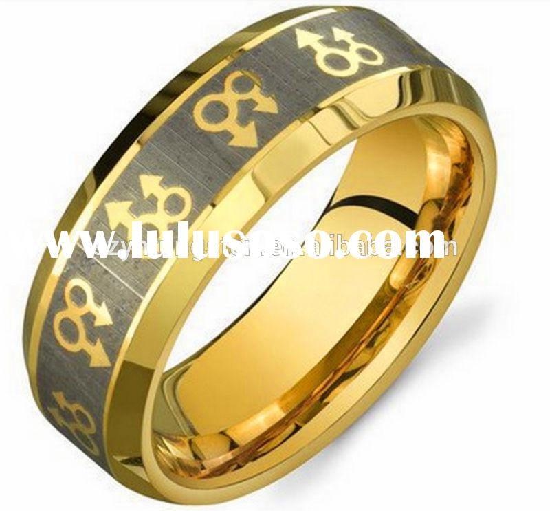 Free Shipping Cheap Price USA Hot Sales 8MM Comfort Fit Mens Gold Male Symbols Gay Engagement / Gay