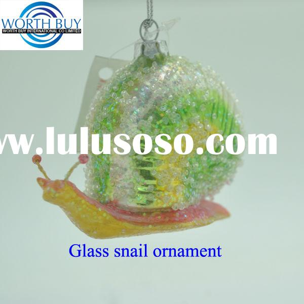 Glitter decorated glass snail unique Christmas ornament wholesale from worth buy