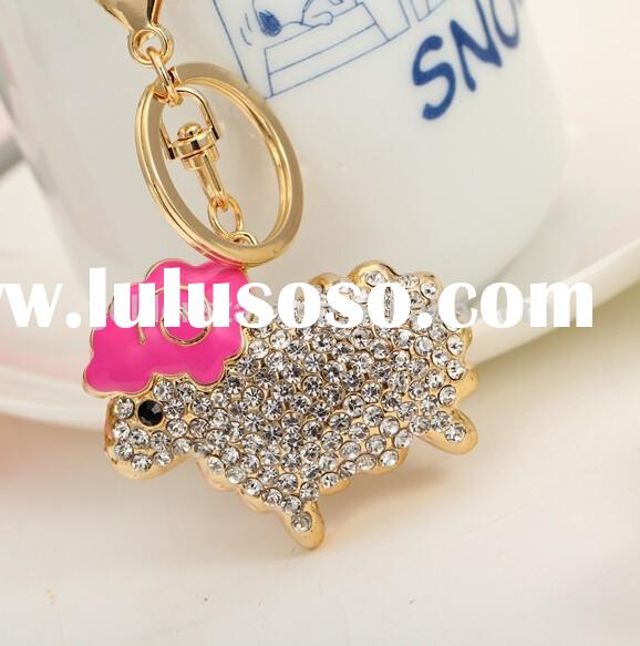 New year funny gifts 2015 Cute Bling Crystal Metal Sheep Keychain for women