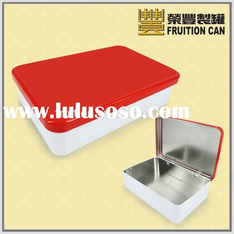 Rectangular tin with round corner and hinged Lid