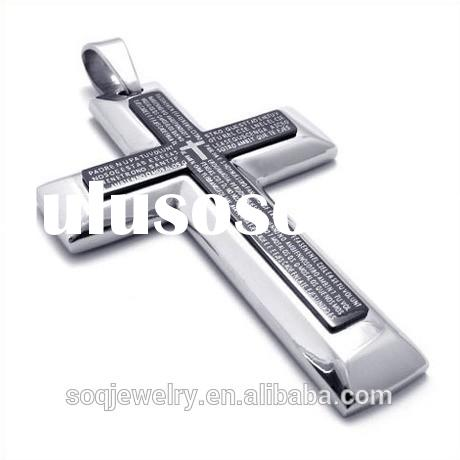 Stainless Steel Hiphop Jewelry Two Tone Big Jesus Cross Pendant for Mens