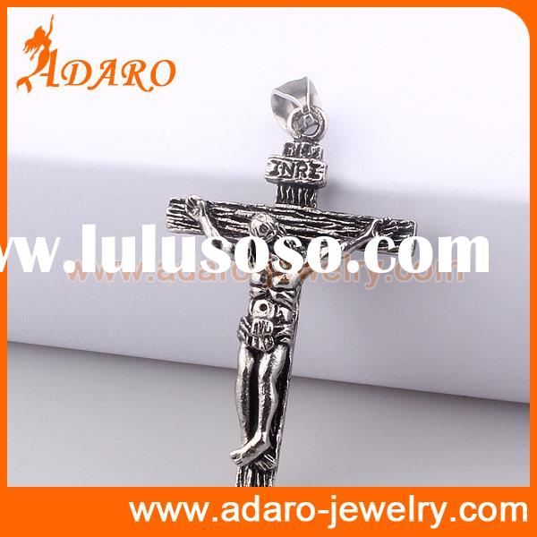 Stainless steel jesus crucifix cross pendant for men hammered cross jewelry