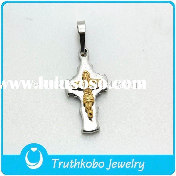 TKB-P0238 New Design Religion Jewelry Stainless Steel Silver Cross Gold Plated Jesus Pendant Necklac