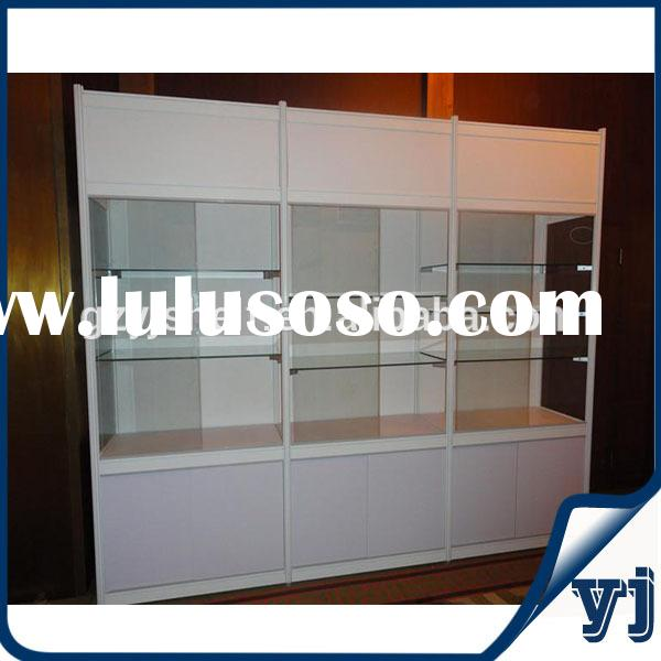 Tempered glass shelf/metal cabinets with glass sliding door/metal jewelry display stands