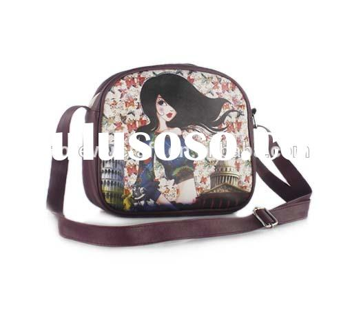 Women's/lady fashion printed PU leather handmade messenger bag pattern