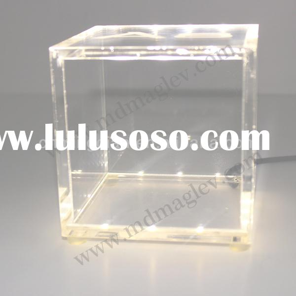 acrylic logo cube box display with LED, new design plexi led sign display cube box