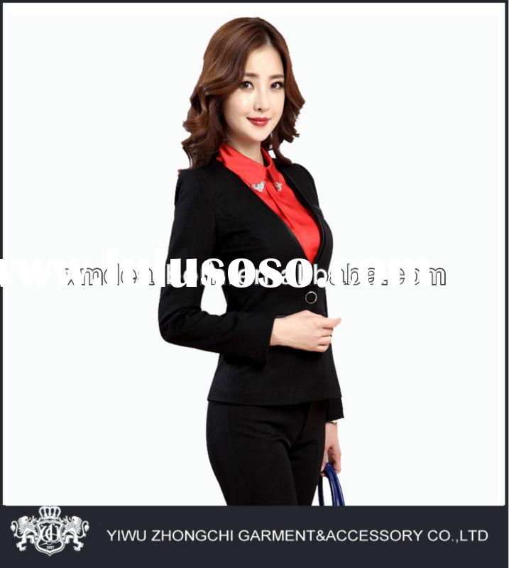 black polyester women sample office uniform