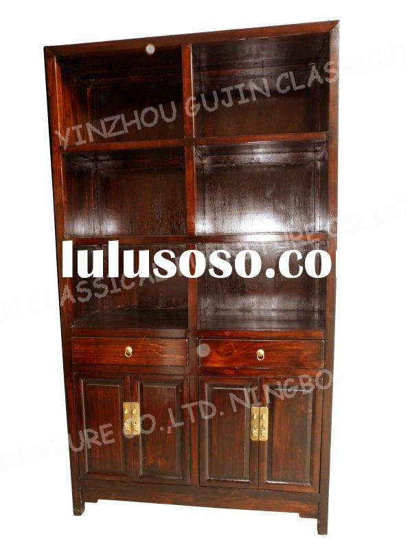 chinese antique reproduction furniture wood shelf cabinet with storage