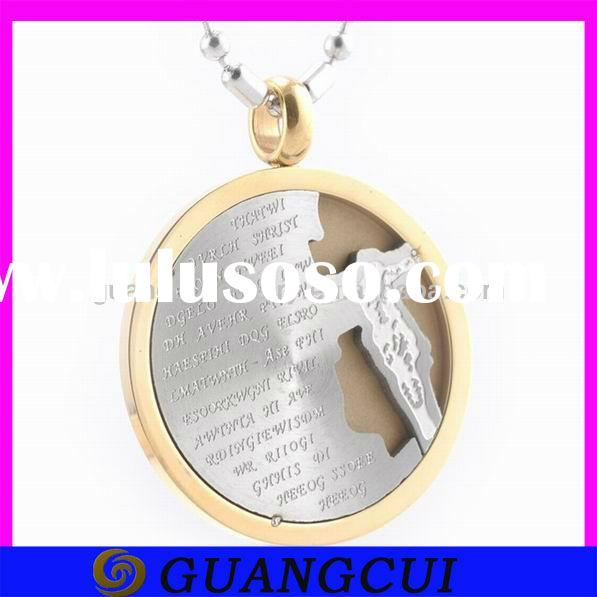 fashion shiny gold stainless steel jesus christ cross pendant necklace for men